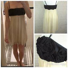 🌹BCBG MAX AZRIA Ivory Black Silk Spaghetti Strap Floral Trim Mini Dress 6 1223