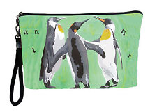 Penguin Pouch Wristlet  detachable strap - From my orginal Painting, The Trio