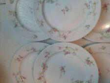 """Haviland 6 Salad plates Limoges France China 8 1/2"""" pink flowers"""