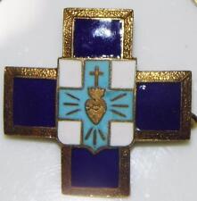 Fine Vintage Blue Enamel Sacred Heart Jesus Charity Cross Caritas Pilgrims Badge
