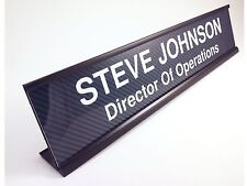 Personalized desk name plate carbon fiber look insert with black holder 2x10""