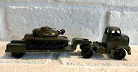 Vintage Tootsie Toys Semi Truck W/ Lowboy Flatbed Trailer And Zylmex M60-A1 Tank