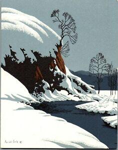 Eyvind Earle Irene Dash Disney Artist Winter Stream VTG Christmas Greeting Card