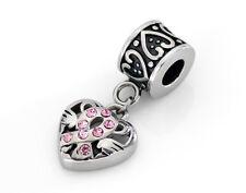 Stainless Steel Cancer Awareness Ribbon Dangle Charm Bead Fits European Bracelet