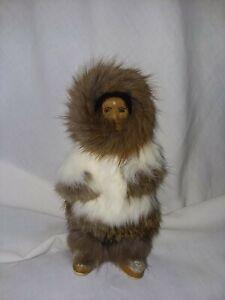 Vintage Handmade Alaska Eskimo Inuit Doll with Fur Leather Painted Wood Face