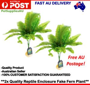 2x Artificial Fake Reptile Plant Plastic Fake Plant Reptile Enclosure Decoration