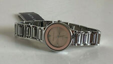 NEW! ANNE KLEIN ROSE GOLD BEZEL W/GENUINE DIAMOND SILVER BRACELET WATCH $85 SALE