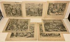 7 Antique FLEMISH DUTCH ETCHINGS ON LAID PAPER Biblical Scenes