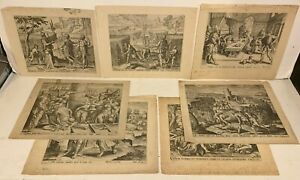 7 Antique FLEMISH DUTCH ETCHINGS ON LAID PAPER Biblical Scenes