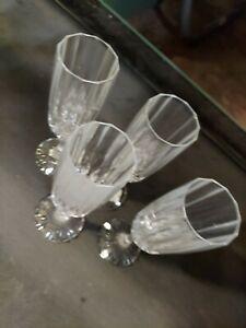 4(four ) Cristal D'Arques Durand Bretagne  Clear Crystal Champagne flutes