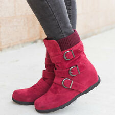 UK Winter Warm Womens Ladies Casual Flats Buckle Ankle Snow Boots Martin Shoes