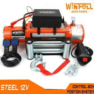 Electric Recovery Winch /12v 13500lb - Heavy Duty Steel Cable, 4x4 Car -WINFULL