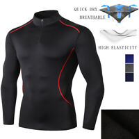 Men's Workout Dry Fit Compression T-Shirt Long-Sleeve Athletic Gym Baselayer Tee