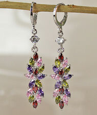 18K White Gold Filled -2'' Flower Ruby Topaz Amethyst Peridot Prom Hoop Earrings