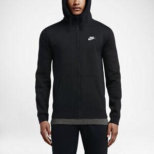 Nike Men's Full Zip Club Fleece Track Jacket Hoodie 804389 010 Black New