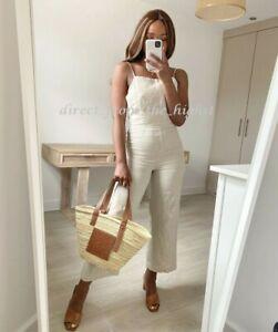 H&M Beige Linen Jumpsuit Size UK 8_10_12_14_16