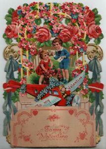 """Valentines: alte Aufstellkarte """" Kulissenkarte mit Waben-Deko """""""