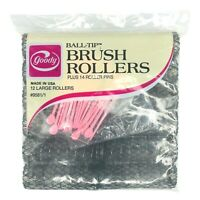 Goody Hair Vintage Ball Tip Brush Rollers And Pins Size Large Curlers 12 In Pack