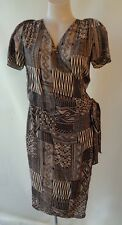 Sportscraft Signature dress black & beige silk Size 10 wrap short sleeve