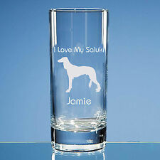 More details for saluki dog lover gift personalised hand engraved quality highball glass