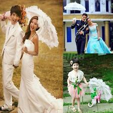 White Battenburg Lace Flower Girls Parasol Wedding Party Sun Umbrella Prop