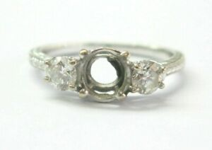 Three Stone Diamond Semi Mount Ring 14Kt White Gold Milgrain Design 50Ct )