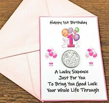 LUCKY SIXPENCE. FIRST. 1ST BIRTHDAY GIFT. BOY OR GIRL. GIFT CARD & ENVELOPE