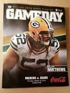 2016 Chicago Bears At Green Bay Packers Lambeau Gameday Program Clay Matthews