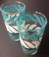 2 Vintage Hazel Atlas Turquoise White Swirl Aqua Drinking Glasses MC Barware