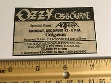 Ozzy Osbourne/ Clipping/ No Rest For The Wicked Tour/ 1989/ Anthrax/ Newspaper