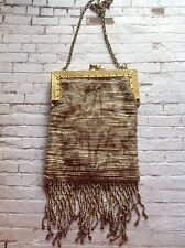 Antique French Made art deco Metal Micro bead fringe tassel bag silver & gold