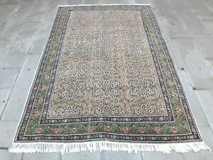 Large Oversize Vintage Handmade Turkish Wool Salon Area Rug Old Beige Rug 6x9ft