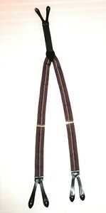 Men's Elastic Suspenders Striped Navy, Gold, Maroon w/ Leather Straps