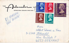 Hongkong, mixed franked Airmail to Germany, Queen Elizabeth II hcv MiF 19.4.1975