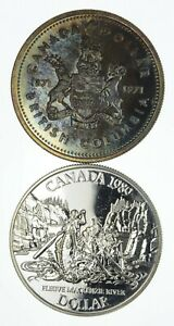 Lot of 2 1971 & 1989 Canada Canadian Silver Dollar Coin .500 Silver 50% *582