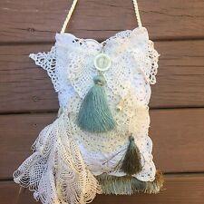 Handmade White Boho Hippie Gypsy Purse Bag Cotton Doily Lace Festival Wedding