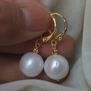 Charming 11-12mm Natural South Sea White Pearl Earring14k Gold P Hook