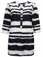 Ladies Long Silky Shirt Plus Size 18-24 Zebra Print Blouse striped tunic top 232