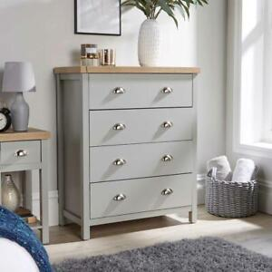 Grey Oak 4 Drawer Chest of Drawers Storage Metal Cup Handles Avon Two Tone