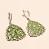 Natural Panorama Green Amethyst Earrings 925 Sterling Silver Women Fine Jewelry