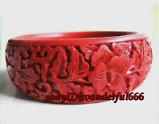 Chinese Classical Traditional Folk Carved Auspicious Cinnabar Lacquer bracelet