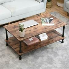 Accent Industrial Modern Coffee Table Tea End With Storage Shelf For Living Room