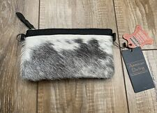 American Darling Black Gray and White Hair on Leather Crossbody Bag NWT