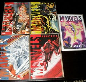MARVELS Annotated #1-4 plus Epilogue - VARIANTS -  Alex Ross. NM 9.2 OR BETTER