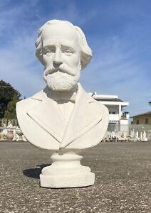 Statua Mezzo Busto Gesso Giuseppe Verdi Bianco