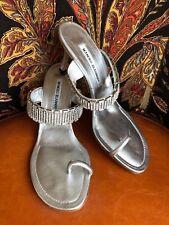Manolo Blahnik Silver Metallic Sandal- Leather & Rhinestones  - size 38.5