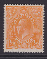 AUSTRALIA KGV 1/2d Orange CofA WMK MINT/MUH SG 124 (LD77)
