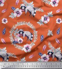 Soimoi Fabric Lemur & Anemone Floral Print Fabric by the Yard - FL-314F
