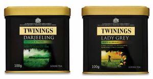 Twinings Lady Grey / Darjeeling Loose Leaf Tea Tin Caddy 100g