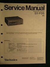 Technics Digital Disk Recorder Sy-Fd5 Service Repair Shop Manual Wiring Sy Fd 5
